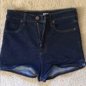 BDG high rise dark jean shorts